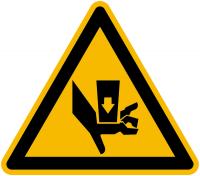 Warnzeichen Warnung vor Quetschgefahr durch Einpreßwerkzeug