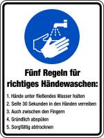 Gebotsschild, Kombischild, 5 Regeln zum Händewaschen - DIN EN ISO 7010