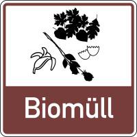 Abfallkennzeichen, Biomüll, Braun, 100 x 100 mm
