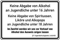 Aushang, Keine Abgabe von Alkohol an Jugendliche - JuSchG