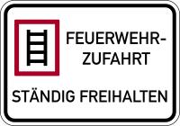 Brandschutzzeichen, Feuerwehrzufahrt Ständig freihalten