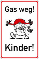 Hinweisschild, Gas weg! Kinder!, 750x500mm, Alu glatt