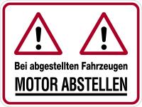 Hinweisschild, Motor abstellen, 300x400mm, Alu geprägt
