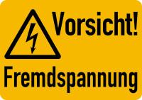 Warnschild, Vorsicht! Fremdspannung, Folie - ISO 7010