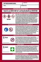 Aushang, Betriebsanweisung für Heizöl EL und Dieselkraftstoff - GHS/ISO 7010 Piktogramme