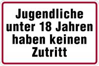 Hinweisschild, Jugendliche unter 18 Jahren, Alu geprägt, 200 x 300 mm
