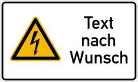 Kombischild, Warnung vor elektrischer Spannung (W012) + Wunschtext, 150 x 250 mm