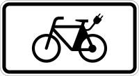 Verkehrszusatzzeichen, E-Bikes frei, Zeichen 1022-13, 231 x 420 mm, Alu reflektierend