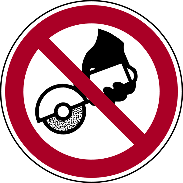 Verbotszeichen, Nicht zulässig für Freihand- und handgeführtes Schleifen P034 - ASR A1.3 (ISO 7010)