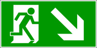 Rettungszeichen, Notausgang abwärts rechts - DIN 4844