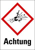 """Gefahrstoffkennzeichnung - Explodierende Bombe (GHS01) & Signalwort """"Achtung"""" - Bogen à 16 Stück"""