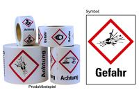 """Gefahrstoffkennzeichnung - Explodierende Bombe (GHS01) & Signalwort """"Gefahr"""" - Rolle à 500 Stück"""