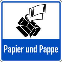 Abfallkennzeichen, Papier und Pappe, blau, 100 x 100 mm, Folie