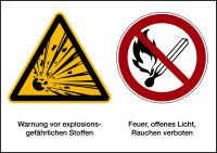 Kombischild, Explosionsgefährliche Stoffe, 148 x 210 mm