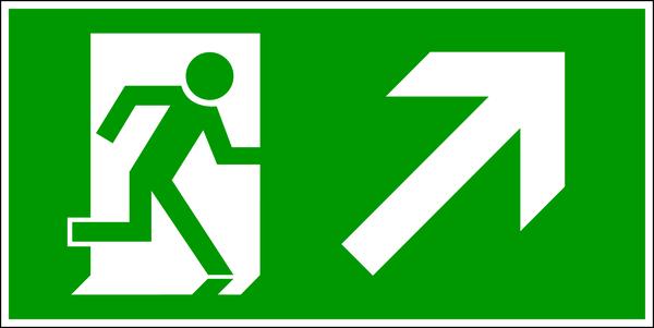 Rettungszeichen, Notausgang aufwärts rechts - DIN 4844