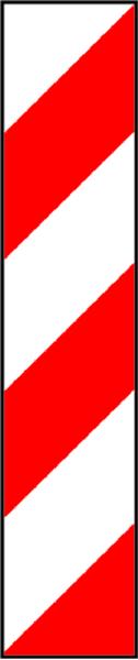 Warnmarkierung, Aluminium rot/weiß, links-/rechtsweisend, 705 x 141 mm