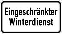 Verkehrszusatzzeichen, Eingeschränkter Winterdienst, Aluminium, 231 x 420 mm