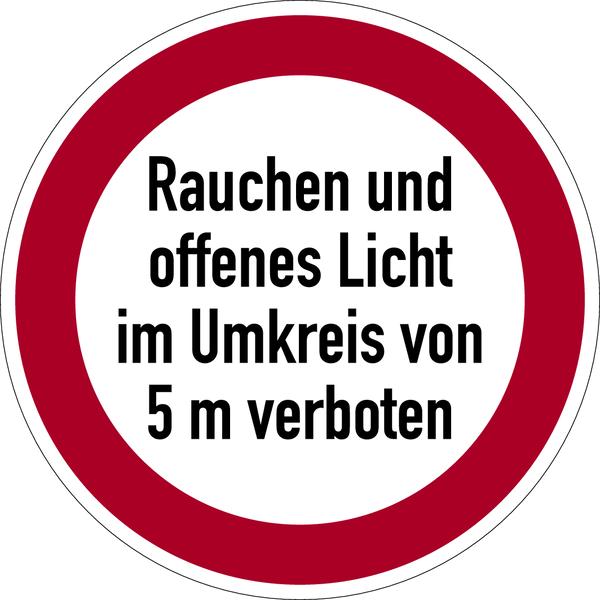 Verbotszeichen, Rauchen und offenes Licht im Umkreis von 5 m verboten - praxisbewährt