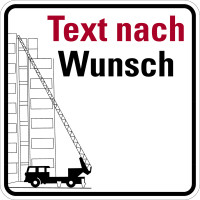 Hinweisschild Feuerwehrzufahrt, Feuerwehrwagen, mit Text nach Wunsch