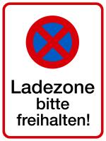 Parkverbotsschild, Ladezone bitte freihalten, 400x300mm, Alu geprägt