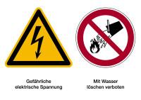 Kombischild, Elektrische Spannung / Wasser verboten, 148 x 210 mm