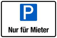 Parkplatzschild, Nur für Mieter, 200 x 300 mm, Aluverbund