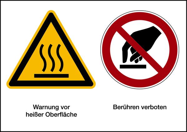 Warnzeichen Kombischild Heiße Oberfläche / Berühren verboten