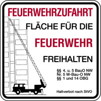 Brandschutzzeichen, Feuerwehrzufahrt - Haltverbot nach StVO