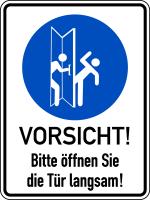 Türschild, Bitte öffnen Sie die Tür langsam!, links, 200 x 150 mm