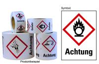 """Gefahrstoffkennzeichnung - Flamme über einem Kreis (GHS03) & Signalwort """"Achtung"""" - Rolle à 500 Stk."""