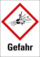 """Gefahrstoffkennzeichnung - Explodierende Bombe (GHS01) & Signalwort """"Gefahr"""""""
