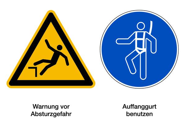 Warnzeichen Kombischild Absturzgefahr / Auffanggurt