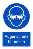 Gebotsschild, Kombischild, Augenschutz benutzen - DIN EN ISO 7010