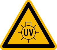 Warnschild, Warnung vor UV-Strahlung - praxisbewährt