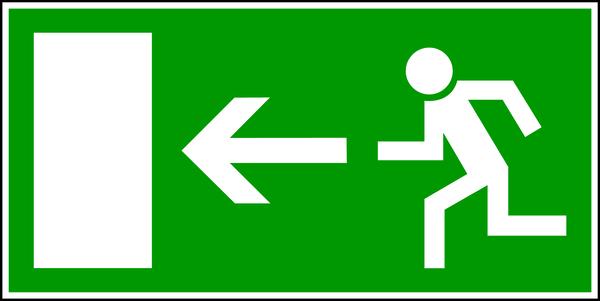 Rettungszeichen, Notausgang links E13 - BGV A8