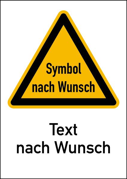 Warnschild Strahlenschutz mit Text und Symbol nach Wunsch