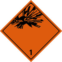 Gefahrzettel, Gefahrgutklasse 1 - Explosive Stoffe und Gegenstände mit Explosivstoff