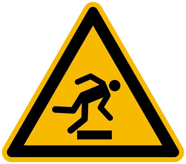 Warnzeichen, Warnung vor Hindernissen am Boden W007 - ASR A1.3 (DIN EN ISO 7010)