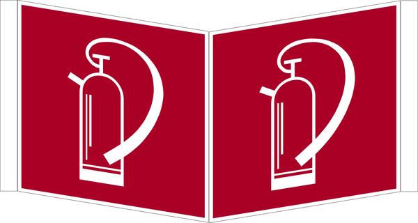 Brandschutzzeichen, Winkelschild Feuerlöscher F 005 - DIN 4844