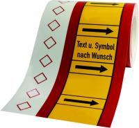 Rohrleitungskennzeichnung - Text und Symbol nach Wunsch