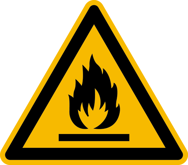 Warnzeichen, Warnung vor feuergefährlichen Stoffen W021 - ASR A1.3 (DIN EN ISO 7010)