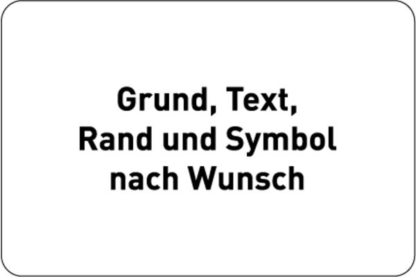 Aluminiumschild geprägt, Farben, Text und Logo nach Wunsch - Querformat