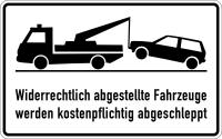 Parkverbotsschild, Widerrechtlich abgestellte  Fahrzeuge, 250x400mm, Alu geprägt