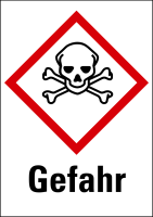 """Gefahrstoffkennzeichnung - Totenkopf (GHS06) & Signalwort """"Gefahr"""" - Bogen à 16 Stück"""