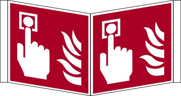 Brandschutzzeichen, Winkelschild Brandmelder F005 - ASR A1.3 (DIN EN ISO 7010)