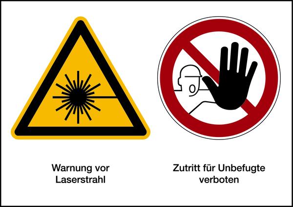 Warnzeichen Kombischild Laser / Zutritt verboten