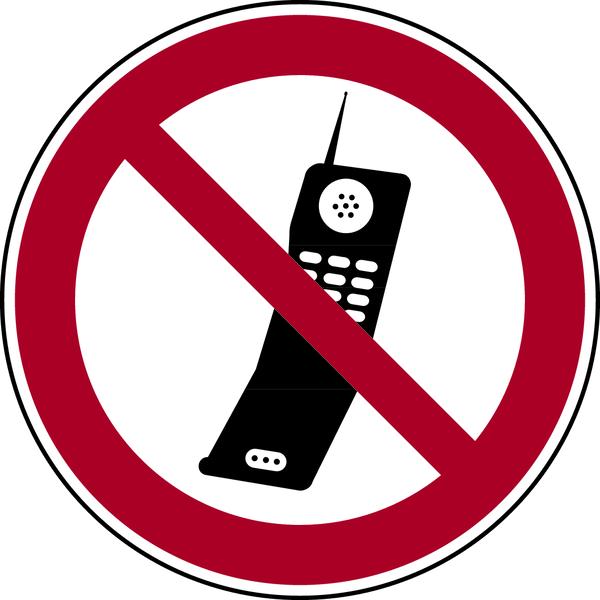 Verbotszeichen, Handy benutzen verboten - praxisbewährt