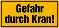 Hinweisschild, Gefahr durch Kran! (gelb), 170x350mm, Alu geprägt