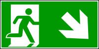 Rettungszeichen, Notausgang abwärts rechts - ASR A1.3 (DIN EN ISO 7010)