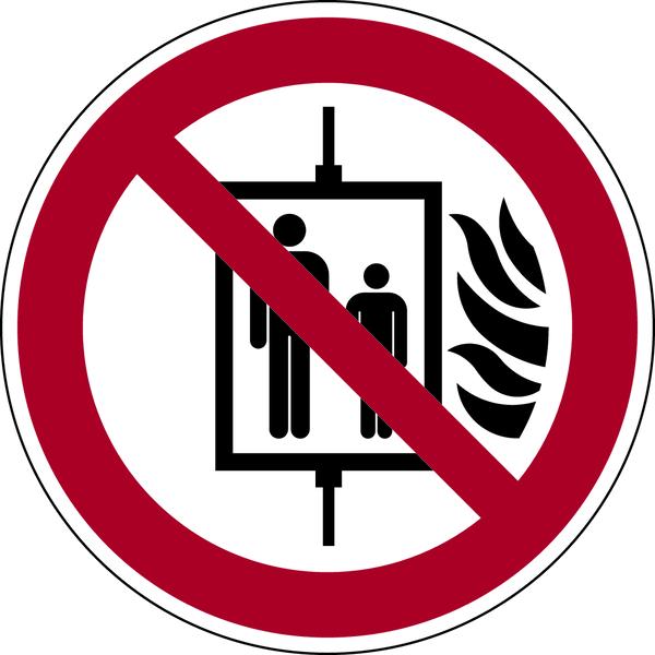 Verbotszeichen, Aufzug im Brandfall nicht benutzen P020 - ASR A1.3 (DIN EN ISO 7010)